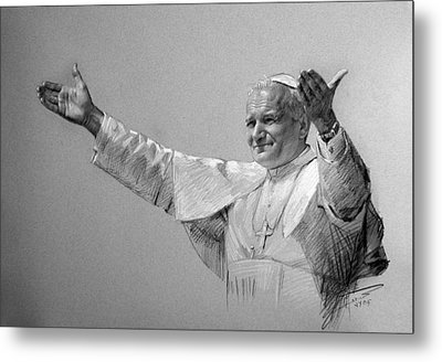 Pope John Paul II Bw Metal Print by Ylli Haruni
