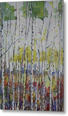 Poplars In Fall Metal Print