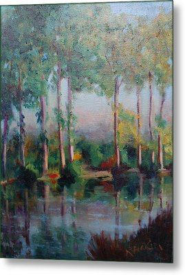 Metal Print featuring the painting Poplars by Rosemarie Hakim