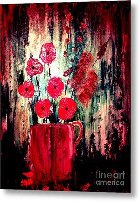 Metal Print featuring the painting Poppie Mix by Denise Tomasura