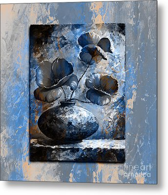 Poppies 02 - Style Blue Peach Metal Print by Emerico Imre Toth