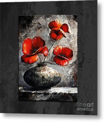 Poppies 02 - Style Black White And Red Metal Print by Emerico Imre Toth