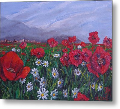 Poppies And Daisies Metal Print