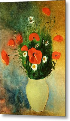 Poppies And Daisies Metal Print by Odilon Redon