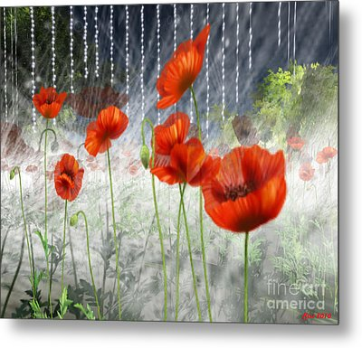 Metal Print featuring the digital art Poppies And Pearls by Susanne Baumann