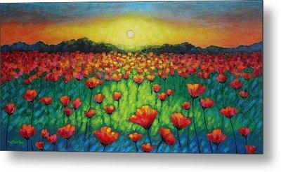 Poppies At Twilight Metal Print by John  Nolan
