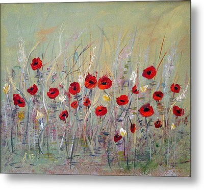 Metal Print featuring the painting Poppies by Dorothy Maier
