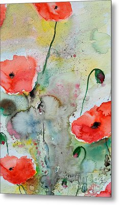 Poppies - Flower Painting Metal Print by Ismeta Gruenwald