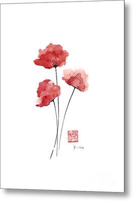 Poppies Flowers Orange Red Poppy Flower Watercolor Painting Ink Metal Print by Johana Szmerdt