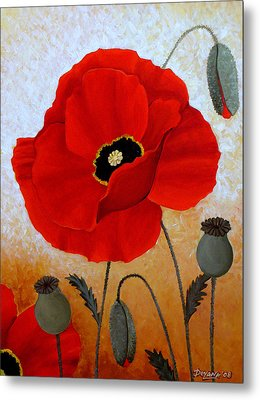 Poppies I Metal Print by Deyana Deco
