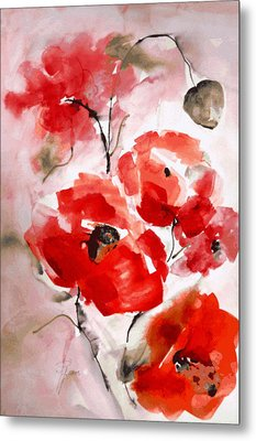 Poppies I Metal Print by Hedwig Pen