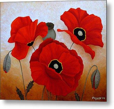 Poppies II Metal Print by Deyana Deco