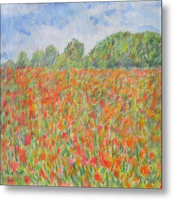 Poppies In A Field In Afghanistan Metal Print