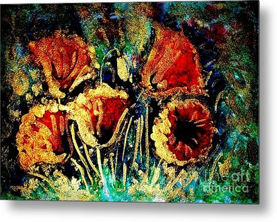 Poppies In Gold Metal Print by Zaira Dzhaubaeva