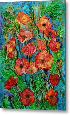 Poppies In Storm Metal Print by Janet Immordino