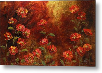 Metal Print featuring the painting Poppies In The Garden by Vic  Mastis