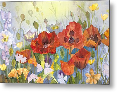 Poppies In The Light Metal Print by Sandy Linden