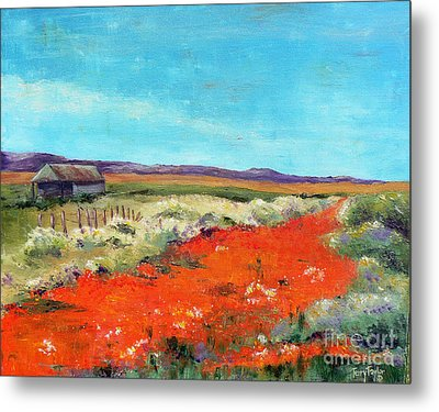Metal Print featuring the painting Poppies In The Meadow by Terry Taylor