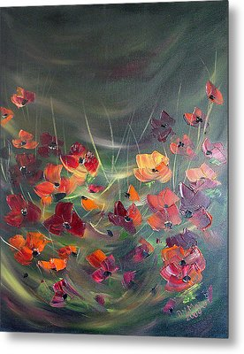 Metal Print featuring the painting Poppies In The Shadow by Dorothy Maier