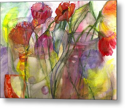 Poppies In The Sun Metal Print by Claudia Smaletz