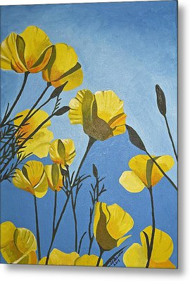 Poppies In The Sun Metal Print