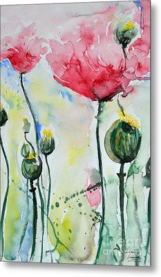 Metal Print featuring the painting Poppies by Ismeta Gruenwald