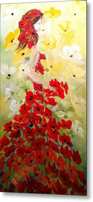 Metal Print featuring the painting Poppies Lady by Dorothy Maier