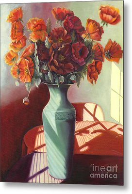Metal Print featuring the painting Poppies by Marlene Book