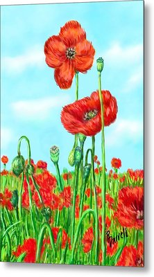 Poppies N' Pods Metal Print by Ric Darrell