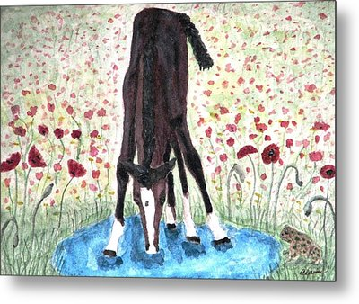 Metal Print featuring the painting Poppies N  Puddles by Angela Davies