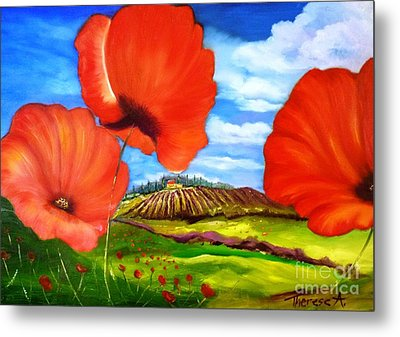 Poppies Of Provence Metal Print by Therese Alcorn