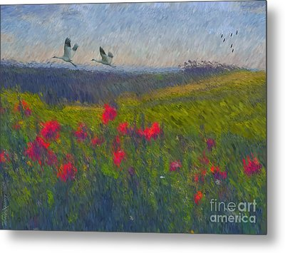 Metal Print featuring the digital art Poppies Of Tuscany by Lianne Schneider