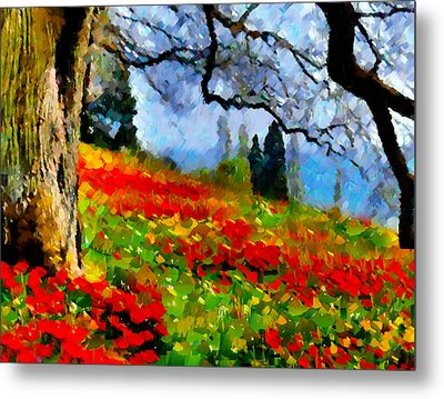Poppies On A Hill Metal Print