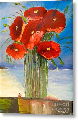 Metal Print featuring the painting Poppies On The Window Ledge by Pamela  Meredith