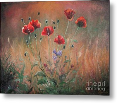 Metal Print featuring the painting Poppies by Sorin Apostolescu