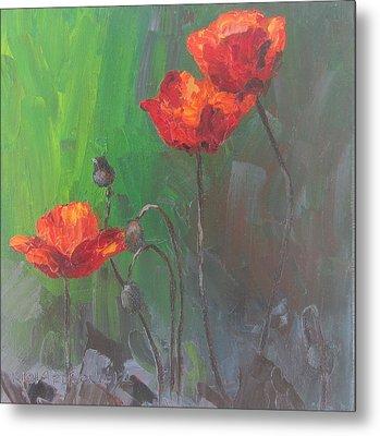 Poppies3 Metal Print by Susan Richardson