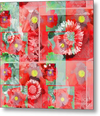 Poppy Collage Metal Print
