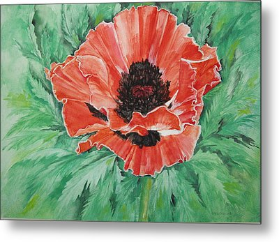 Metal Print featuring the painting Poppy by Ellen Canfield
