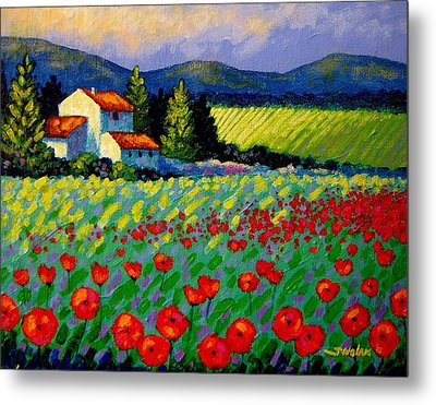 Poppy Field - Provence Metal Print by John  Nolan
