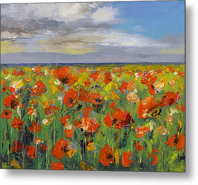 Poppy Field With Storm Clouds Metal Print by Michael Creese