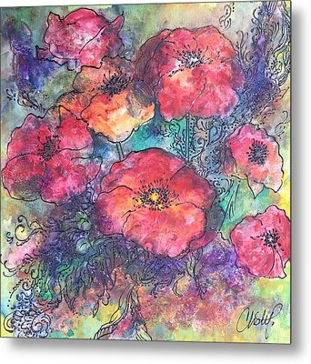Metal Print featuring the painting Poppy Flower Splash Of Spring by Christy  Freeman