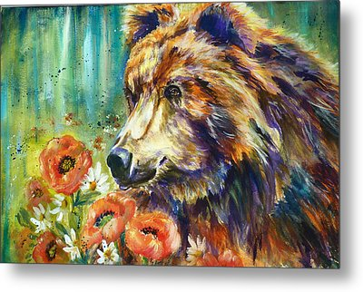 Poppy Mountain Bear Metal Print by P Maure Bausch