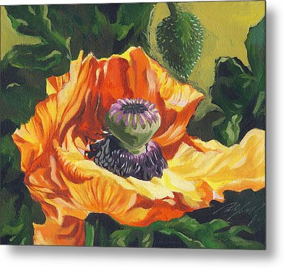 Metal Print featuring the painting Poppy With Yellow by Alfred Ng