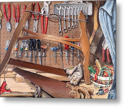Metal Print featuring the painting Pop's Work Bench by Bob  George