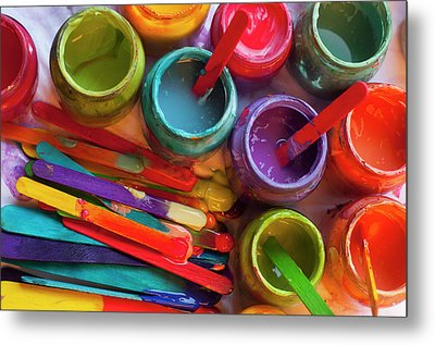 Popsicle Stick Paint Metal Print by Alixandra Mullins