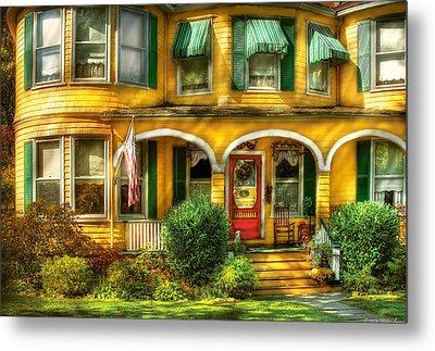 Porch - Cranford Nj - A Yellow Classic  Metal Print by Mike Savad