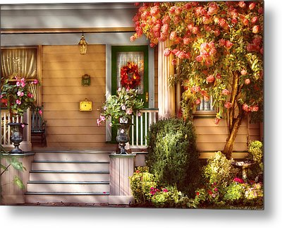 Porch - Cranford Nj - Simply Pink Metal Print by Mike Savad