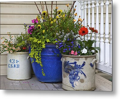 Porch Flowers Metal Print by Steve and Sharon Smith