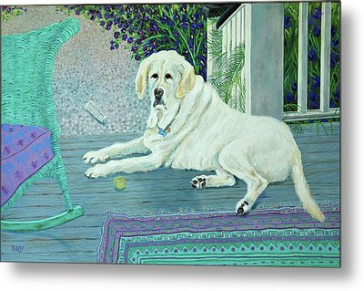 Porch Pooch Metal Print