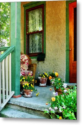 Porch With Padded Chair Metal Print